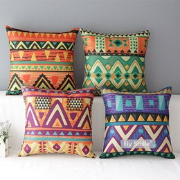 $enCountryForm.capitalKeyWord NZ - Ethnic Style Flower Geometric Art Cushion Covers African Triangles Plaids Mandala Linen Cotton Pillow Covers 45X45cm Sofa Chair Decoration