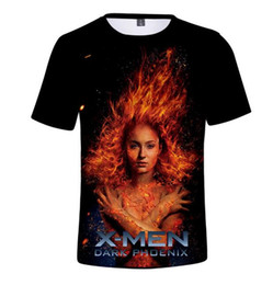Phoenix Costume X Men Movie UK - X-Men Black Phoenix Short Sleeve X-Men: Dark Phoenix European and American Movie T-Shirt Cos Summer Costume