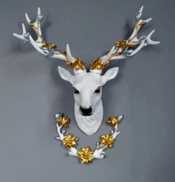 block shop Australia - lucky deer head wall hanging creative living room shop background wall hanging animal elk wall decoration three-dimensional