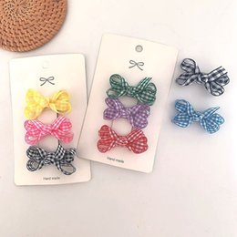 wholesale plaid fabrics Australia - Kids Designer Hair Accessories Childrens Japan and South Korea Simple Plaid Bow Hairpin Side Clip Small Fresh Girls Handmade Fabric Hairpin