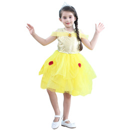 Wholesale o net online – design Girl dress kids Cute baby print Net yarn short skirt O Neck Tutu Bubble Dress yellow little princess dress children clothes