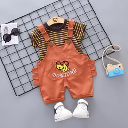 Casual Suits For Boys NZ - Boys Clothes Sets Summer Kids Fashion Cotton T-shirt+bib Pants 2pcs Eracksuits For Baby Boys Children Casual Sports Clothing Suits Outfits