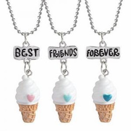 Wholesale Pendant Sets NZ - Best Friends Forever Pendant Necklace Emulation Resin Burger Hot Dog Ice Cream Owl Unicorn Jewelry set PPA174