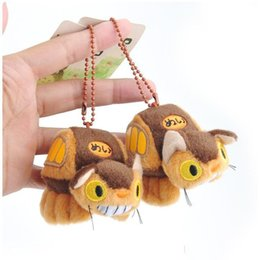 wholesale stuffed animal cat Australia - 2019 new Hot Sale 8cm My Neighbor Totoro Cat Bus Pendant Plush Stuffed Toy For Kids Best Holiday Gifts