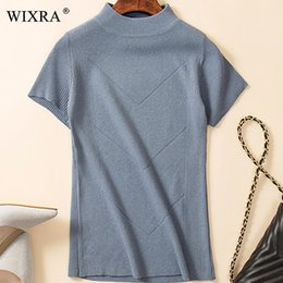 $enCountryForm.capitalKeyWord Australia - Wixra Warm and Charm Spring Women's Knitted Turtleneck Sweater Pullover Summer Soft Solid Short Sleeve Knitwear Jumper Top S19907
