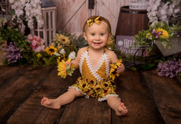 girl jumpsuit playsuit Australia - Cute Newborn Infant Baby Girls Rompers Summer Sleeveless Sunflower Floral Baby Girls Clothing Jumpsuit Playsuit Sunsuits Clothes
