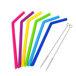 $enCountryForm.capitalKeyWord NZ - 6pcs lot Reusable Silicone Straw Drinking Straw For Home Party Barware Accessories with 2 Clean Brush Set Barware Gadgets