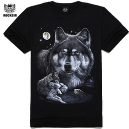9f573388b Rocksir 2017 Summer Mens Casual T Shirts Black wolf Print Brand Clothing  For Man's Short Sleeve Slim T-Shirts Male Tops Tee