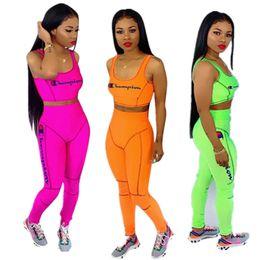 $enCountryForm.capitalKeyWord Australia - Bright Color Women's Embroidery Champion Tracksuit Crop Top Tank Vest Pants Leggings 2 Piece Sweatsuit Outfits GYM Set Sportswear C53003