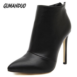 Ankle Chain Pumps NZ - GUMANDUO women pumps high heels boots shoes woman pointed toe wedding party dress stiletto ladies short ankle boots size 35-40