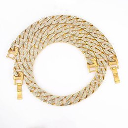 Wholesale Crystal Diamond Cuban Link Necklace Bling Jewelry Necklaces for Men Women Iced Out Miami Curb Pendant Link Chain Sizes