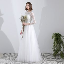 wedding dresses sposa 2019 - Lace Tulle Beach Wedding Dresses with Appliques White Floor Length Wedding Gowns with Sleeves vestito da sposa cheap wed