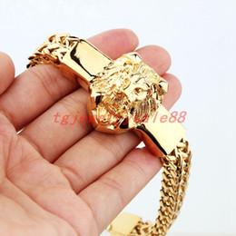"$enCountryForm.capitalKeyWord Australia - High Quality Gold Figaro Rolo Chain With Stainless Steel Lion Head Bracelet Fashion Men's Cuff Jewelry 15mm*8.66"" J190618"