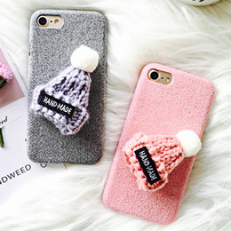 $enCountryForm.capitalKeyWord NZ - Diy Cute Hat Phone Case For Iphone Xs Xr Xs Max X 5 5s Se 6 6s 7 8 Plus Fuzzy Plush Fiber Winter Soft Tpu Back Cover