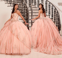 CasCade laCe online shopping - 2020 Stunning Blush Pink Dresses Quinceanera Ball Gown Sweet Dress Strapless Lace up D Floral Applique Lace Flowers Beaded Crystal Prom