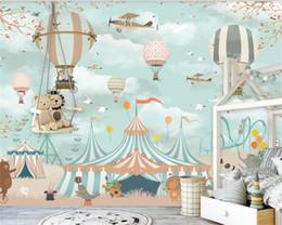 Wallpapers Walls Cartoons Australia - Large 3d Wallpaper Cartoon Hot Air Balloon Airplane Animal Pup Circus Playground Background Wall 3d wallpaper mural