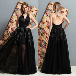 $enCountryForm.capitalKeyWord Australia - Alluring Black Backless Lace Evening Dresses V Neck Prom Gown Beaded A Line Floor Length Appliqued Tulle Formal Dress