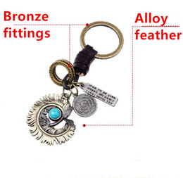 Student Cars Australia - 5pcs Fashion creative charm friends student couple gift zinc alloy feather retro car keychain hand-woven leather rope key ring
