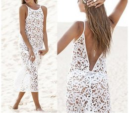 $enCountryForm.capitalKeyWord NZ - New Fashion Summer Beach Dresses Plus Size 2xl White Color Hollow Out Backless Lace Dress Boho Loose Fitrobes Clothes Y190417