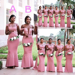 Discount nigerian navy caps South African Nigerian Girls Pink Mermaid Bridesmaids Dresses 2019 Plus Size Sheer Neck Appliques Floor Length Maid of Honor Gowns BM0614