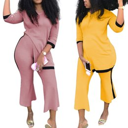 $enCountryForm.capitalKeyWord Canada - wholesale Fashion Design Women Two Pieces Set Sexy Club Casual Female Clothes Tracksuit T Shirt Flare Pants Suits EL5272