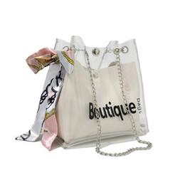 Scarf Shops Australia - 2019 Women clear bag bucket bag Fashion Transparent Women Shoulder Bags Ladies Messenger Casual Shopping Scarves Handbags 888