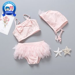 small bikini styles UK - swimming suit children's girl's baby's split style small middle lace skirt Swimsuit lace skirt school children's swimming trunks