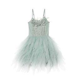 $enCountryForm.capitalKeyWord UK - Vieeoease Girls Dress Kids Clothing 2019 Summer Fashion Sleeveless Lace Tutu Princess Party Sequins Feather Dress GGO-017