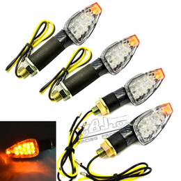 $enCountryForm.capitalKeyWord Australia - 4 PCS Universal Motorcycle Carbon Fiber Housing yellow Lens 14 LED Turn Signals LED Lights Indicators Flashers For Kawasaki