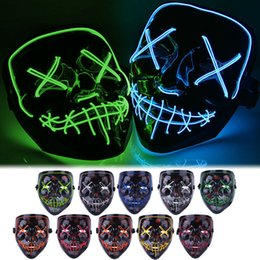 led costumes NZ - New Halloween Mask LED Light Up Party Masks Party Funny Masks Festival Cosplay Costume Supplies Props Glow Sparkle In Dark 2019