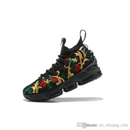7b95165035b Mens lebron 15 basketball shoes for sale Black Floral White lifestyle  outdoor sneakers tennis with box