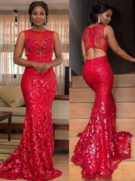 arabic red evening dress Australia - 2020 South East Asia Style Red Lace Prom Dresses Scoop Neck Sleeveless Mermaid Trumpet Arabic Evening Dresses Moroccan Kaftan Party Dress