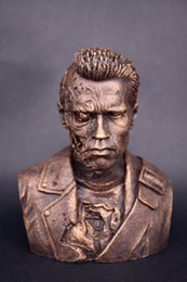 Figure Bust Australia - [TOP] 12cm Terminator T800 Bust Arnold Schwarzenegger resin figure statue toy Battle Damage Collection model desk decoration