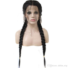 $enCountryForm.capitalKeyWord UK - Hot! Human Lace Front Wig 26 inch Black Braid Wig 360G Braided Wigs Straight Double Ponytail Synthetic Lace Front Wigs
