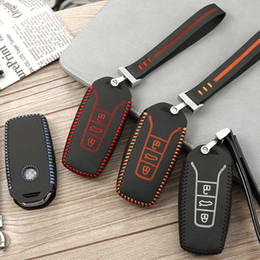 volkswagen leather key case NZ - For VOLKSWAGEN vw touareg 2018 2019 car-styling Brand New High Quality leather remote key Case Cover Holder