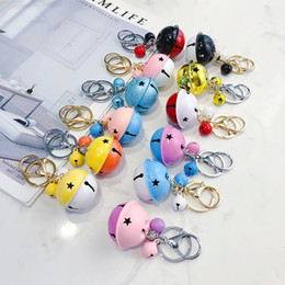 $enCountryForm.capitalKeyWord NZ - 19 Styles Two-color Metal Bells Keychain Cute Keyring Baubles Pendant for Key Women's Bags Purse Keychains Chaveiro Accessories