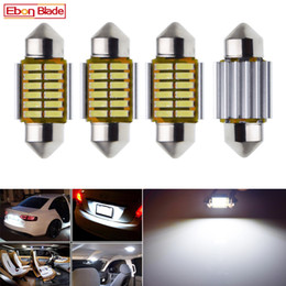 "auto map lights Australia - 4Pcs Festoon Car LED Bulb Lights 28mm C5W 1.10"" For Car Interior Dome Map Reading Light Door License Palte Lamp 12V Auto White"