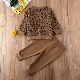 leopard print clothes for baby girls UK - 1-4 Years Toddler Infant Outfits Leopard Print Sweatshirt Pullover Tops Long Pants Baby Girls Clothes Kids Tracksuits For Boys