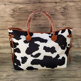 $enCountryForm.capitalKeyWord Australia - Wholesale Black And White Cow Tote Bag Women Printed Handbag Canvas Cow Endless String Bag DOM1219