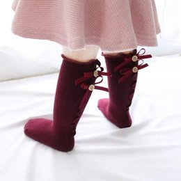 Beautiful Girls Socks Australia - Baby Kids Soft Cotton Sock So Beautiful Sweet Long Socks Girl Back Bow Ear Edge Newborn Baby Medium Socks