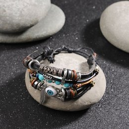 blue amber stone UK - Vintage Blue Stone Feather Multilayer Leather Bracelet Eye Charms Beads Bracelets Men Women Vintage Punk Wrap Wristband Jewelry