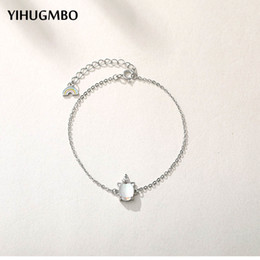 sterling silver anklet bracelets NZ - YIHUGMBO Rainbow Crystal Charm Bracelet Anklets for Women Bohemian Wedding 925 Sterling Silver Link Charn Bracelets Wholesale