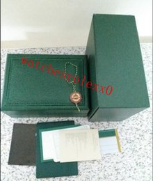 Опт Высокое качество супер роскошные часы бренд мужские часы зеленый PU кожаные коробки оригинальный реальный деревянный футляр бумаги подарочные часы для ROLEX часы футляр 454.