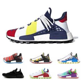 e151f840bd8bd Human Race trail Running Shoes Men Women Pharrell Williams HU Runner Yellow  Black White SOLAR PACK Nerd blue sport runner sneaker36-47