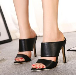 nice stilettos shoes NZ - Spring & Summer New Black and White Solid Color High Heel Stiletto Slides Comfortable Skin-friendly Nice Women's Shoes Slipper