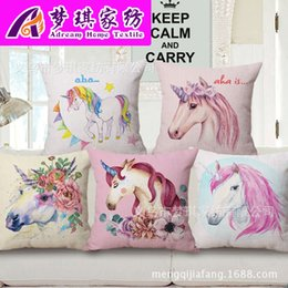 children cars cartoon NZ - Cartoon Unicorn Hold Cotton Pillow Case Fashion Printing Cushion Set Office Car Back Cushion