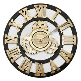 Wholesale 30cm Retro Gear Clock Silent Wall Clocks For Home Decor Retro Golden Rome Numbers Creative Clock Face Wall Decor Watch