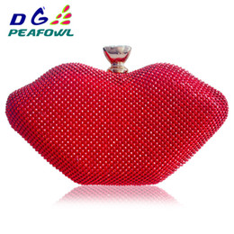 punk bags purses Canada - Red Lips Crystal Sexy Women Handbags Rhinestones Metal Day Purse Travel Bags Diamonds Luxurious Punk Shoulder Evening Clutch Bag