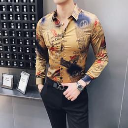 mens clubbing clothes 2019 - Retro Newspaper Printing Shirts Mens Social Club Dress Shirts Slim Fit Gold Camiseta Floral Vintage Clothing Mens Long S