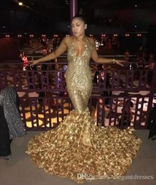 organza rose flowers 2019 - 2018 Gold Deep V Neck Sexy Prom Dresses With Rose Train Low Back Mermaid Evening Gowns Count Train African Vestidos Part